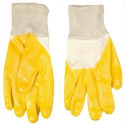 Kesztyű sárga nitril mártott 9-es méret