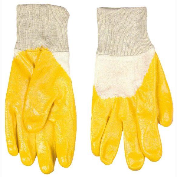 Kesztyű sárga nitril mártott 10-es méret