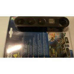 Szivargyújtó elosztó 3-as +2db USB 12/24V
