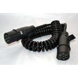 Elektromos 7pol 24V 4,5m spirálkábel müa. világításhoz